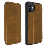 Akashi Etui Folio Cuir Italien Marron iPhone 12 / 12 Pro