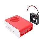 Boitier pour Raspberry Pi 4 Model B (Rouge/Blanc) avec ventilateur noir