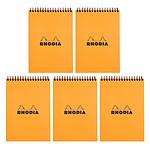 Rhodia Bloc Notepad Orange Spirale 14.8 x 21 cm quadrillé 5 x 5 160 pages (x5)