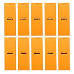 Rhodia Bloc N°8 Orange agrafé en-tête 7.4 x 21 cm petits carreaux 5 x 5 mm 80 pages (x10)