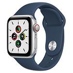Apple Watch SE GPS + Cellular Silver Aluminium Bracelet Sport Bleu Abysse 40 mm