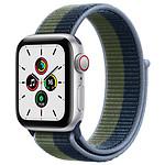 Apple Watch SE GPS + Cellular Silver Aluminium Boucle Sport Bleu Abysse/Vert Sauvage 40 mm