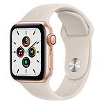 Apple Watch SE GPS + Cellular Gold Aluminium Bracelet Sport Lumière Stellaire 40 mm