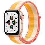 Apple Watch SE GPS + Cellular Gold Aluminium Boucle Sport Jaune Indien/Blanc 40 mm