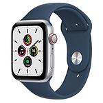 Apple Watch SE GPS + Cellular Silver Aluminium Bracelet Sport Bleu Abysse 44 mm