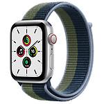 Apple Watch SE GPS + Cellular Silver Aluminium Boucle Sport Bleu Abysse/Vert Sauvage 44 mm