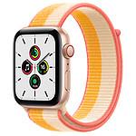 Apple Watch SE GPS + Cellular Gold Aluminium Boucle Sport Jaune Indien/Blanc 44 mm