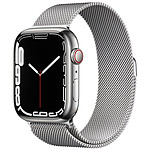 Apple Watch Series 7 GPS + Cellular Silver Stainless Argent Bracelet Milanese 45 mm