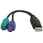 Adaptador conversor USB para teclado y ratón PS/2