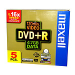 Maxell DVD+R 4.7 Go Certifié 16x Imprimable (pack de 5)