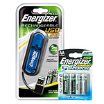 Energizer Chargeur USB + 2 piles AAA 900 mAh + 4 piles AA 2500 mAh offertes