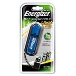 Energizer Chargeur USB avec 2 piles rechargeables Ni-MH AAA 900 mAh (coloris bleu)