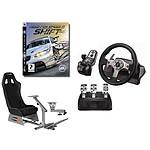 Playseats EVO - Siège de simulation de conduite + Logitech G25 Racing Wheel  + Support de levier de vitesse + jeu PS3 Need for Speed SHIFT