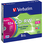 Verbatim CD-RW 700 MB certificado 12x color (pack de 5, caja slim)