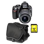 Nikon D3100 + Objectif  AF-S DX NIKKOR 18-55 mm VR + Sacoche CF-EU04 + Carte SDHC 4 Go