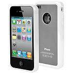 Muvit Housse bimatière Transparent / Blanc pour iPhone 4