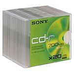 Sony CD-R 700 Mo certifié 48x (pack de 20, boitier slim)