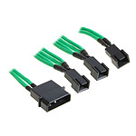 BitFenix Alchemy Green - Câble d'alimentation gainé - Molex vers 3x 3 pins - 20 cm