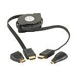 Câble HDMI 1.4 High Speed Ethernet Channel mâle/mâle rétractable (1m) + adaptateurs