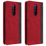 Avizar Etui folio Rouge Éco-cuir pour Sony Xperia 1