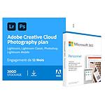 Pack Adobe Creative Cloud Photo 20Go + Microsoft Office 365 Personnel - Licence 1 an - 1 utilisateur - A télécharger