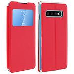 Avizar Etui folio Rouge à fenêtre pour Samsung Galaxy S10 Plus