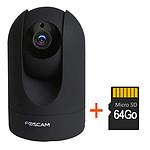 Caméra motorisée HD 1080p infrarouge 8m Foscam R2 noir avec carte SD 64 Go