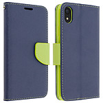 Avizar Etui folio Bleu Nuit Fancy Style pour Apple iPhone XR