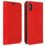 Avizar Etui folio Rouge Cuir véritable pour Apple iPhone XS Max