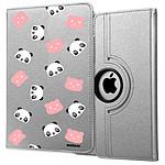 EVETANE Etui iPad 2/3/4 rigide argent Tête de Panda
