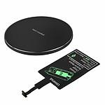 Avizar Chargeur sans fil Noir pour Tous les smartphones dotés d'un port de charge Micro USB