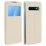 Avizar Etui folio Dorée à fenêtre pour Samsung Galaxy S10 Plus