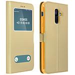 Avizar Etui folio Dorée Éco-cuir pour Samsung Galaxy A6 Plus