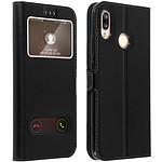 Avizar Etui folio Noir Éco-cuir pour Huawei P20 Lite
