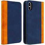 Avizar Etui folio Bleu Nuit Éco-cuir pour Apple iPhone X , Apple iPhone XS