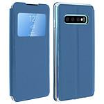 Avizar Etui folio Bleu à fenêtre pour Samsung Galaxy S10 Plus