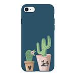 EVETANE Coque iPhone 7/8/ iPhone SE 2020 Silicone Liquide Douce bleu marine Cactus Love