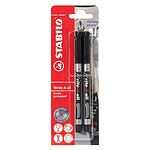 Stabilo Blister de 2 stylos feutre permanents Write-4-all pointe fine noir