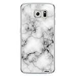EVETANE Coque Samsung Galaxy S6 Edge rigide transparente Marbre blanc