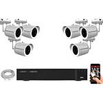 EC-VISION Kit vidéo surveillance IP 6 caméras tubes POE 5 MegaPixels