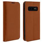 Avizar Etui folio Camel Cuir véritable pour Samsung Galaxy S10