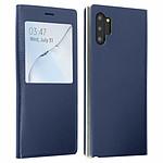 Avizar Etui folio Bleu Nuit à fenêtre pour Samsung Galaxy Note 10 Plus