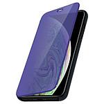 Avizar Etui folio Bleu Nuit Design Miroir pour Apple iPhone XS Max