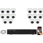 EC-VISION Kit vidéo surveillance IP 16 caméras dômes POE 5 MegaPixels Auto-Zoom x5