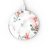 EVETANE Chargeur Induction contour argent blanc Orchidées