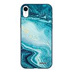 EVETANE Coque iPhone Xr Silicone Liquide Douce bleu marine Bleu Nacré Marbre
