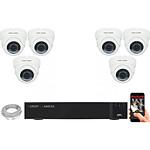 EC-VISION Kit vidéo surveillance IP 6 caméras dômes POE 5 MegaPixels Auto-Zoom x5