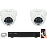 EC-VISION Kit vidéo surveillance IP 2 caméras dômes POE 5 MegaPixels Auto-Zoom x5