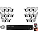 EC-VISION Kit vidéo surveillance IP 16 caméras tubes POE 5 MegaPixels