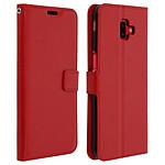 Avizar Etui folio Rouge Vintage pour Samsung Galaxy J6 Plus